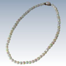 Opalescent Glass Beaded Necklace in Perfect Condition