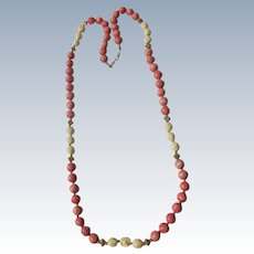 Beaded Necklace Pink Coral and Carved Bone