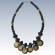 Navy Necklace Wood Beads with Metal Coins