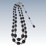Black  & Crystal Beaded Necklace 1950's