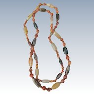 Long Necklace of Natural Stones and Agates