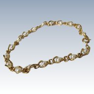 Pearl Bracelet Simulated Pearls Chain Bracelet 1980's