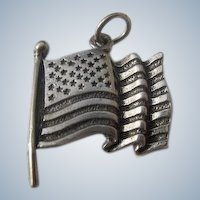 Sterling Silver Charm of American Flag Marked 1960's