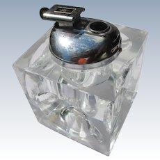 Vintage Cigarette Lighter Crystal Mid Century Modern Works