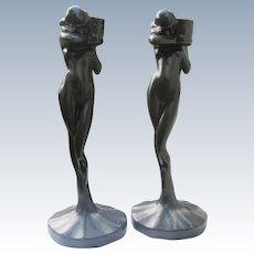Art Deco Style Candlestick Holders Set Sarsaparilla Nude Figurals 1984