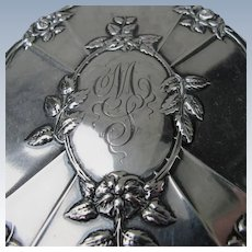 Antique Hand Mirror Sterling Silver Initial MS with Roses