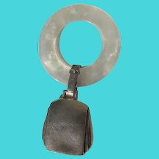 Sterling Silver Teething Ring for Baby Faux MOP Initialed by Webster