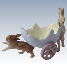 Ceramic Bunny Easter Decoration with Egg Cart Small