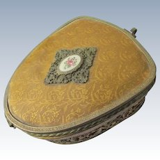 Vintage Jewelry Box 1920's Filigree with Enamel Rose