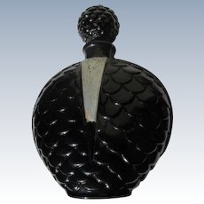 1930's Perfume Bottle by Moriet with Scent Le Prestige Black Glass Perfect