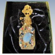 Mini Perfume Bottle Necklace by Adrian Vintage Unused Boxed Unique Jeweled Bottle