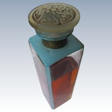 1920's Perfume Blue Enamel Stained Molded Glass Stopper