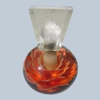 Lucite Perfume Bottle 1940's Flower in Orange Perfect