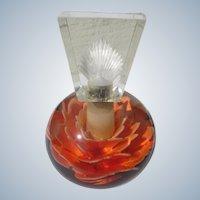 Lucite Perfume Bottle 1940's Flower in Orange Perfect