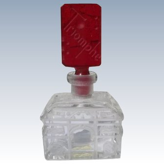 Triomphe Perfume Bottle Commercial Czechoslovakian Etched Glass