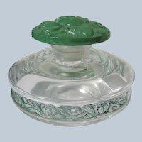 Lentheric Perfume Bottle Enamel w/ Green Flower Stopper 1924