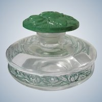 Lentheric Perfume Bottle Enamel w/ Green Flower Stopper 1924