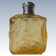 Vintage Perfume Bottle Amber Molded Flower Design Germany Etched