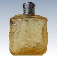 Vintage Perfume Bottle Amber Molded Flower Design Germany Etched