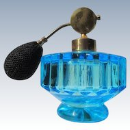 Vintage Perfume Bottle Atomizer with Turquoise Blue Glass