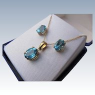 Blue Topaz Necklace and Earrings 10 K Gold 1980's Never Worn