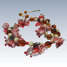 Italian Necklace Glass Flowers Venetian Glass