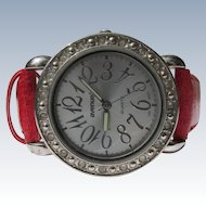 Ladies Watch Red Simulated Leather Band Adjustable