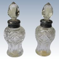 Victorian Era Perfume Bottles with Cut Glass and Sterling Silver Necks