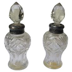 Victorian Era Perfume Bottles with Cut Glass and Sterling Silver Necks - Red Tag Sale Item
