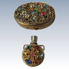 Jeweled Compact and Perfume Bottle
