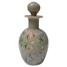 Opaline Glass Perfume Bottle with Enamel Hand Painted Flowers