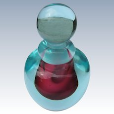 Modern Perfume Bottle 1980's Red and Aqua Glass