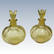 Yellow Glass Perfume Bottles Two Vintage Japan Bottles 1930's