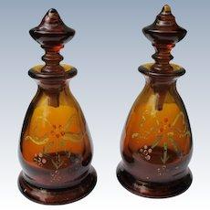 1920's Fenton Perfume Bottles In Dark Brown