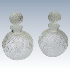Two Vintage Perfume Bottles Molded Glass with Flowers