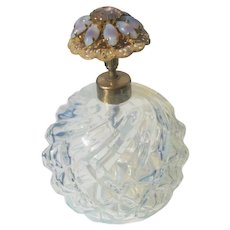 French Jeweled Perfume Bottle with Opalescent Glass IRICE