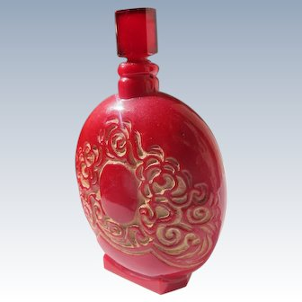 Lalique Designed French Perfume Bottle by Lionceau in Red Glass Damage