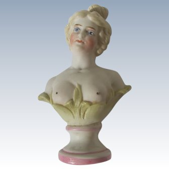 Crown Top Perfume Bottle Porcelain Figural Nude Germany