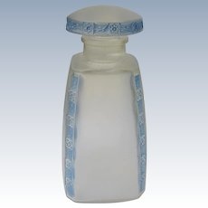 Lalique Perfume Bottle 1921 Fleurettes French w Blue Patina Marked