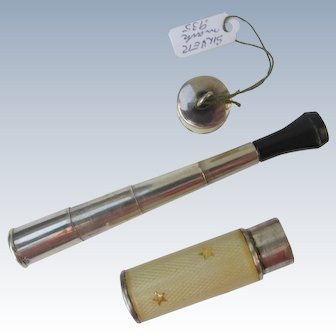 Guilloche Cigarette Holder Compact Rare Sterling Silver Marked