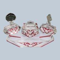 Karl Palda Perfume Bottles Vanity Set for Dresser Set 6 Pieces Red Etched Crystal