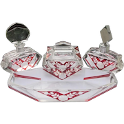 Karl Palda Perfume Bottles Vanity Dresser Set 6 Pieces Red