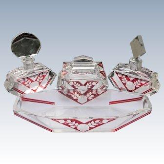 Karl Palda Perfume Bottles Vanity Dresser Set 6 Pieces Red