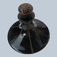 Viard Perfume Bottle Rare Myrurgria 1922 Black Crystal Flower Stopper