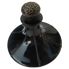 Viard Perfume Bottle Rare Myrurgria 1922 Black Crystal Flower Stopper