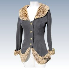 Black Jacket with Faux Fur Leopard Collar and Trim Size 4-6 Playboy Bunny Provenance