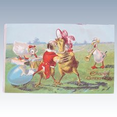 Easter Postcard with Dressed Animals Dancing
