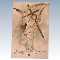 Easter Postcard with an Angel Holding Palm Leaf