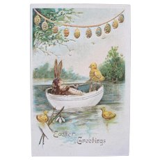 Easter Postcard 1908 Chick and Bunny Rabbit Germany