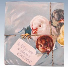 Vintage Easter Postcard with Chicks Tucks